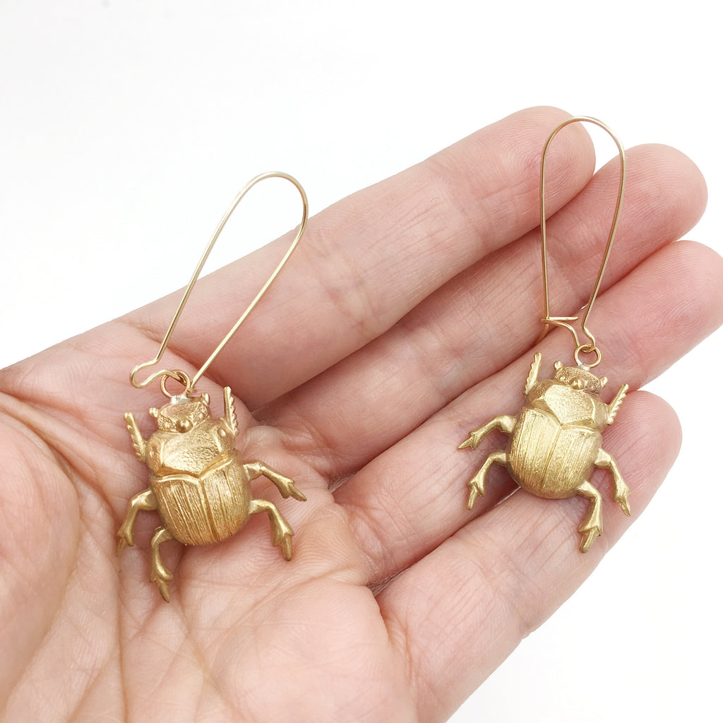 Brass and Gold Scarab Beetle Insect Earrings