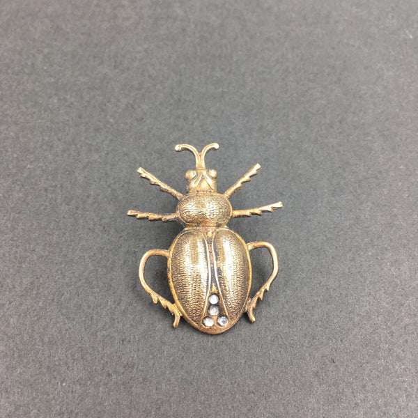 Brass and Rhinestone Scarab Beetle Insect Pin or Brooch