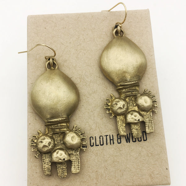 Brass Organic Primitive Boho Dangle Earrings with Gold Filled Ear Wires