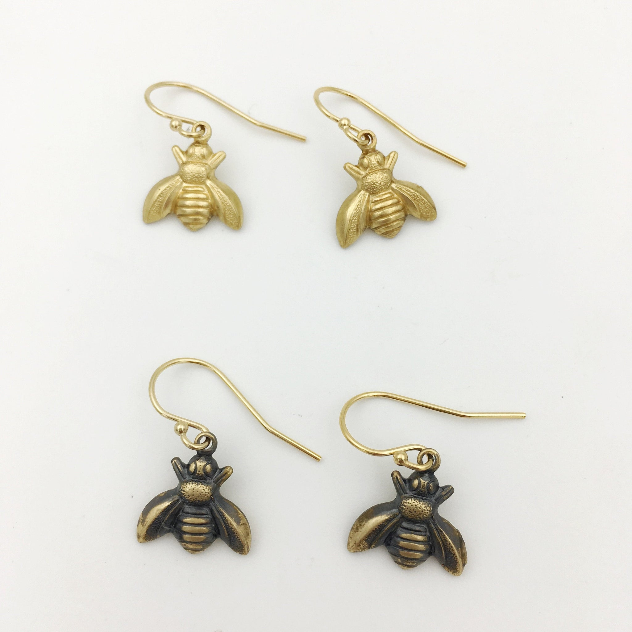 Brass and Gold Honeybee Insect Dangle Earrings