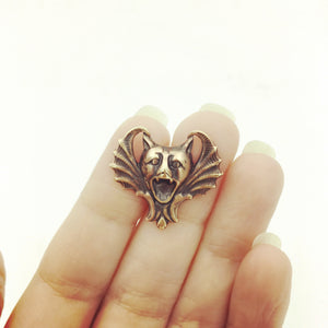 Brass Bat-Faced Gargoyle Pin or Brooch