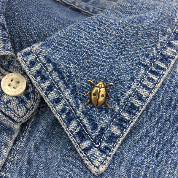 Brass Ladybug Insect Pin or Brooch
