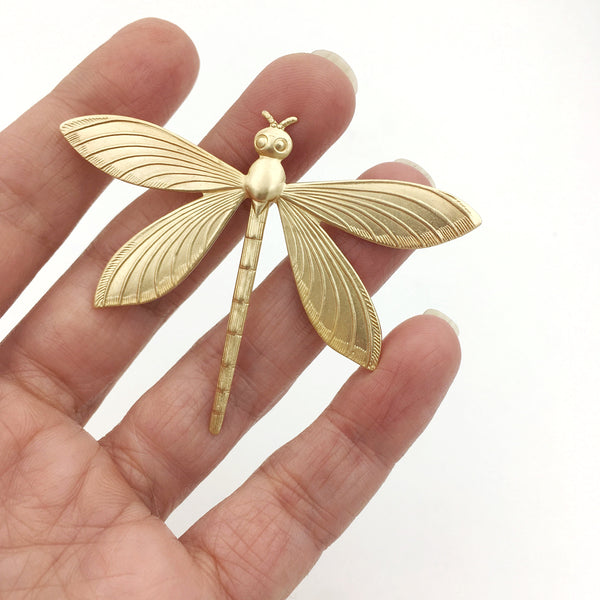Brass Dragonfly Insect Pin or Brooch