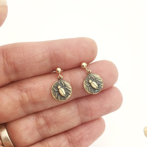 Brass and Gold Beetle Insect Coin Earrings