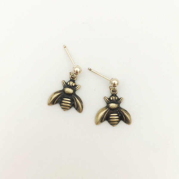 Brass and Gold Honeybee Dangle Post Insect Earrings