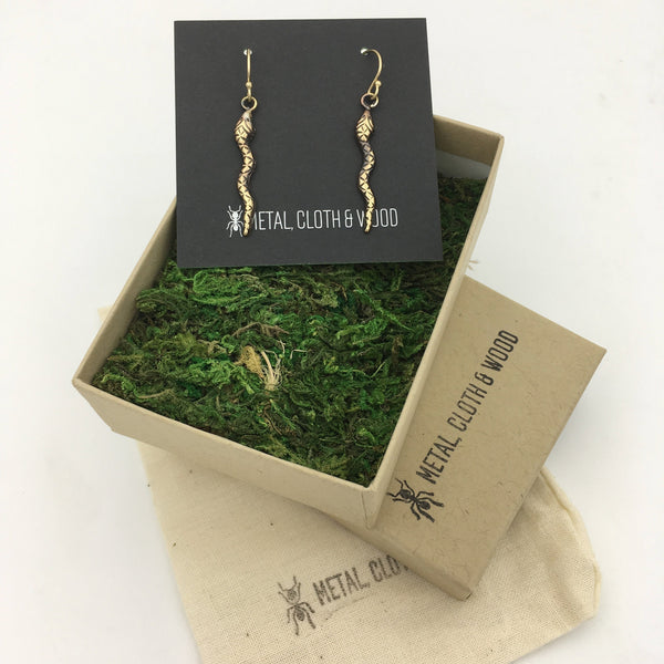Brass and Gold Snake Dangle Earrings