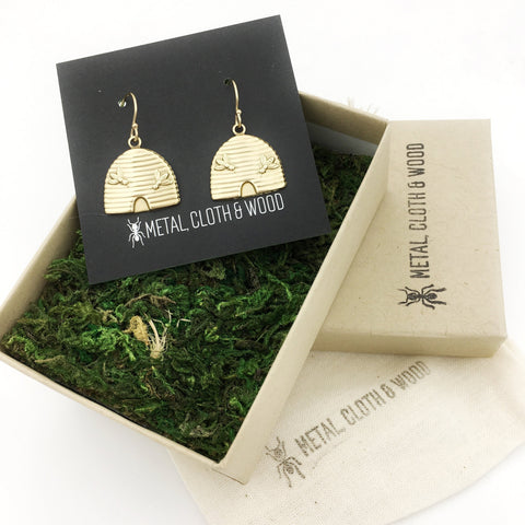 Brass and Gold Beehive Insect Earrings
