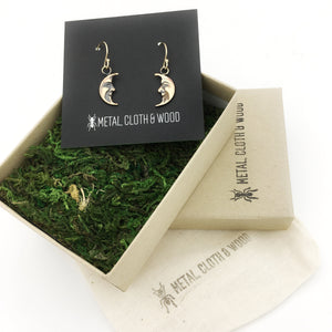 Delicate Handmade Brass and Gold Vintage Celestial Crescent Moon Charm Earrings