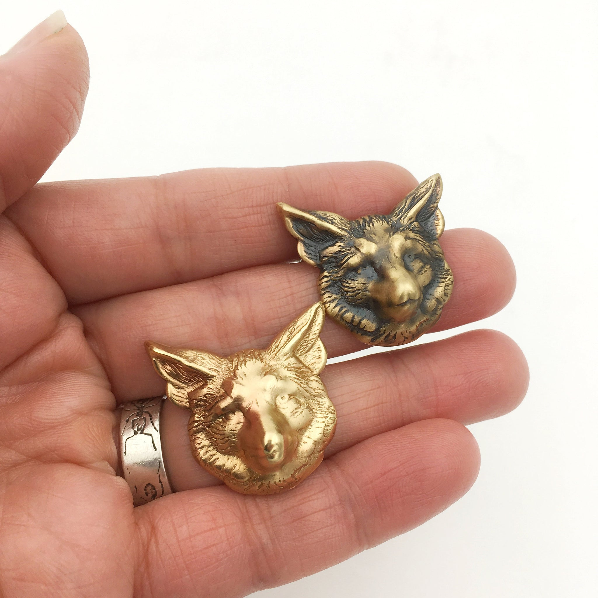 Gold Brass Fox Pin or Brooch