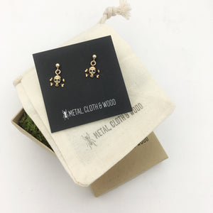 Gold Filled Post Earrings with Tiny Dangling Brass Skull and Crossbones Charms!
