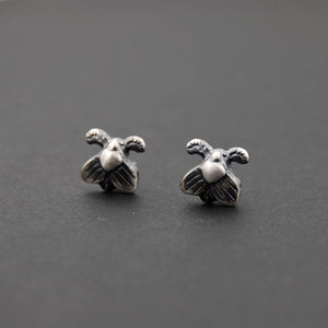 Sterling Silver Moth Stud Insect Earrings