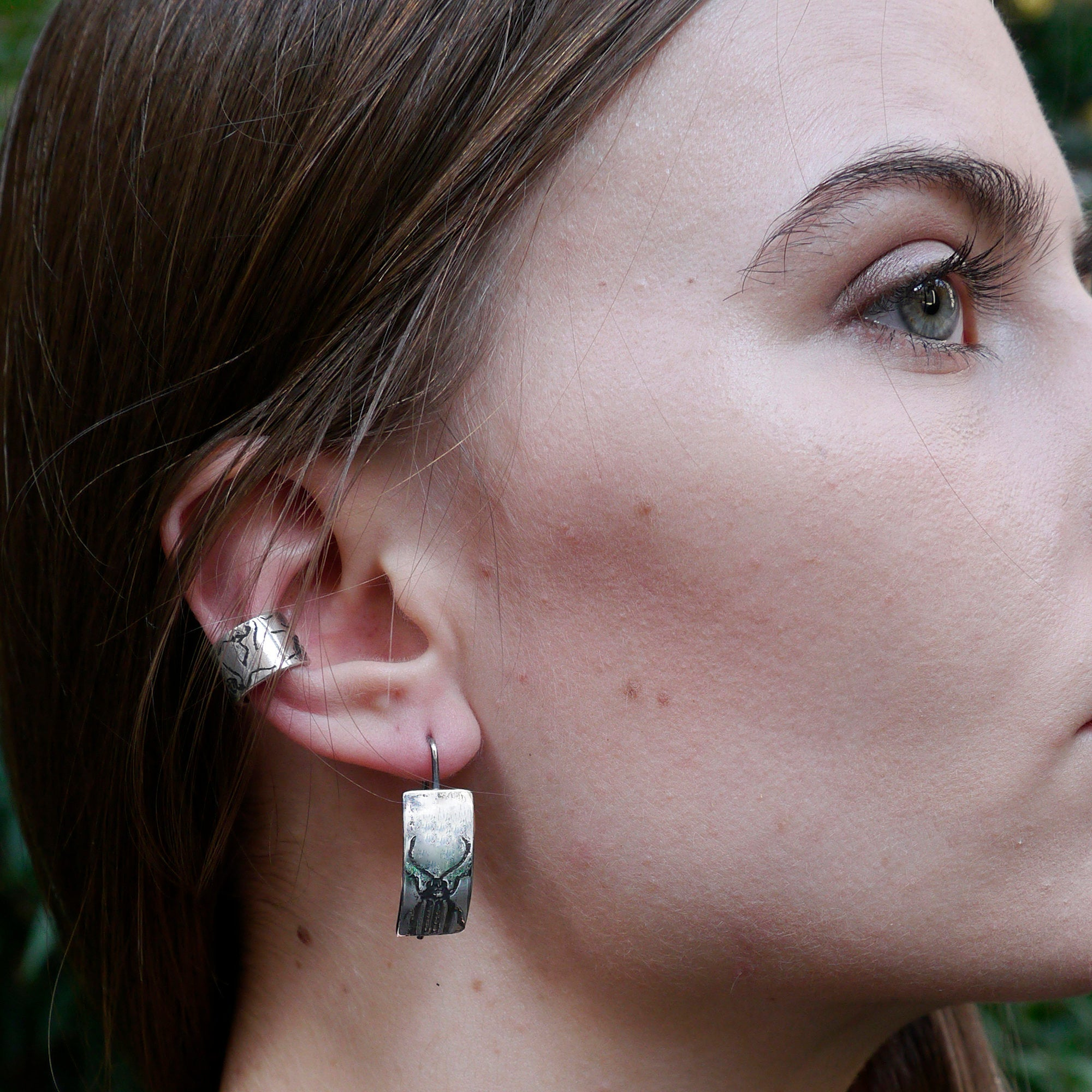 Handmade Sterling Silver Beetle Insect Earrings