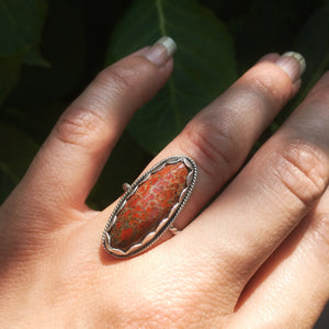 Handmade OOAK Sterling Silver Fossilized Dinosaur Bone Ring, size 4.5-6