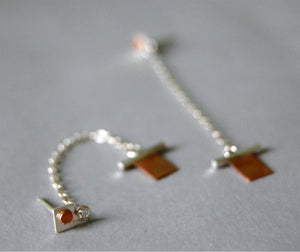 Metalwork Sterling Silver and Copper Geo Dangle Earrings