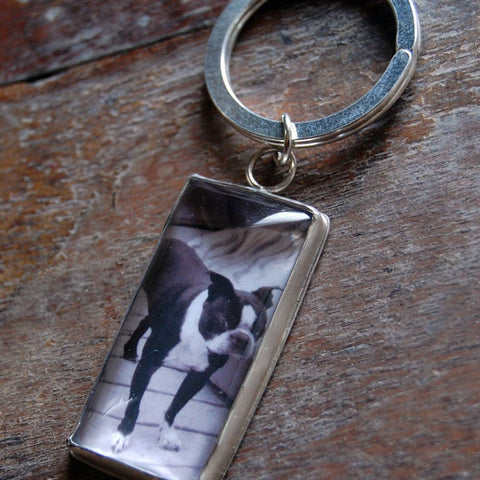 Personalized Rectangular Custom Photo Keychain in Sterling Silver for Men or Women