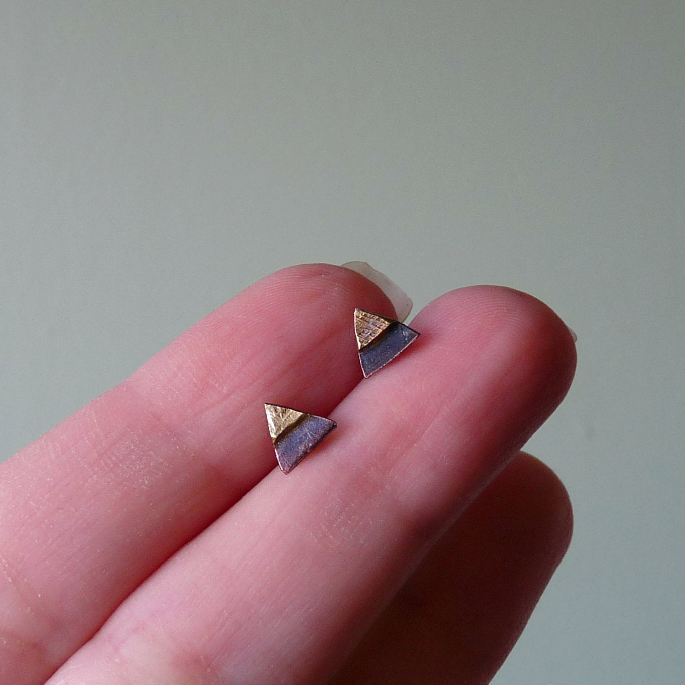 Copper, Brass & Sterling Silver Tiny Triangle Metalwork Stud Earrings