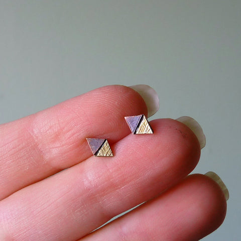 Copper, Brass, & Sterling Silver Tiny Triangles Geometric Metalwork Stud Earrings