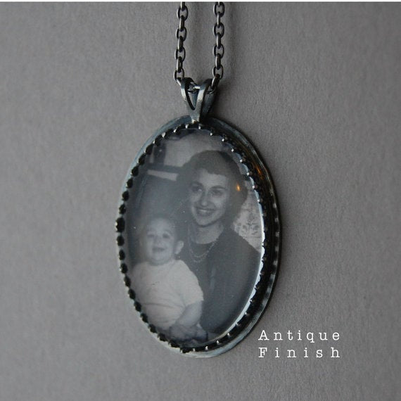 Sterling Silver Square Photo Necklace or Photo Pendant