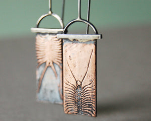 Handmade House Centipede Insect Earrings in Copper & Sterling Silver