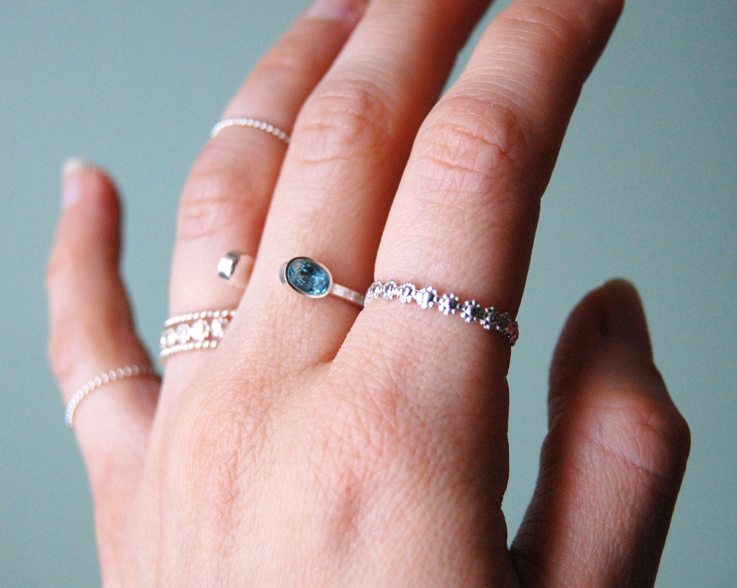 Sterling Silver Stacking or Knuckle Ring in Bright Silver or Oxidized Silver in Daisy Chain, Made to Fit