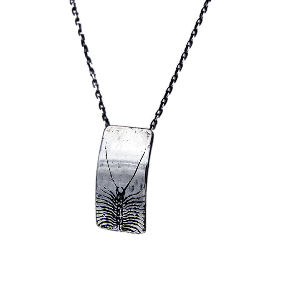 Handmade Sterling Silver House Centipede Insect Necklace