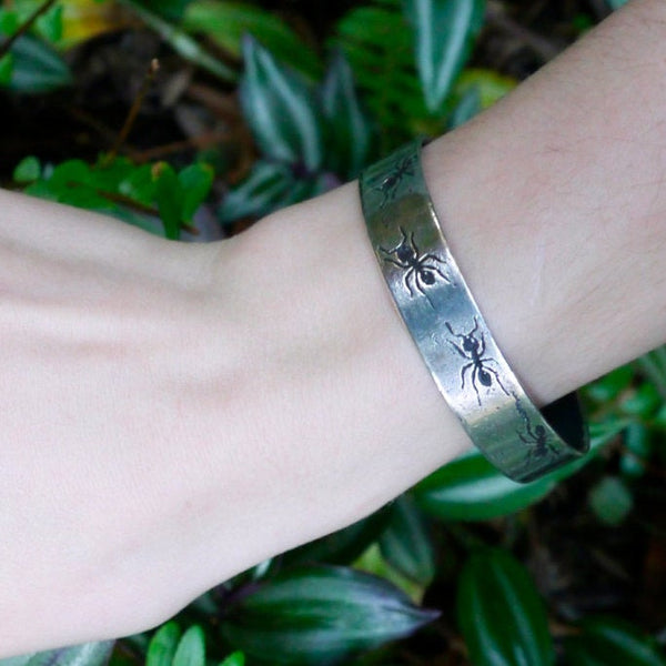 Handmade Sterling Silver Ant Insect Cuff Bracelet