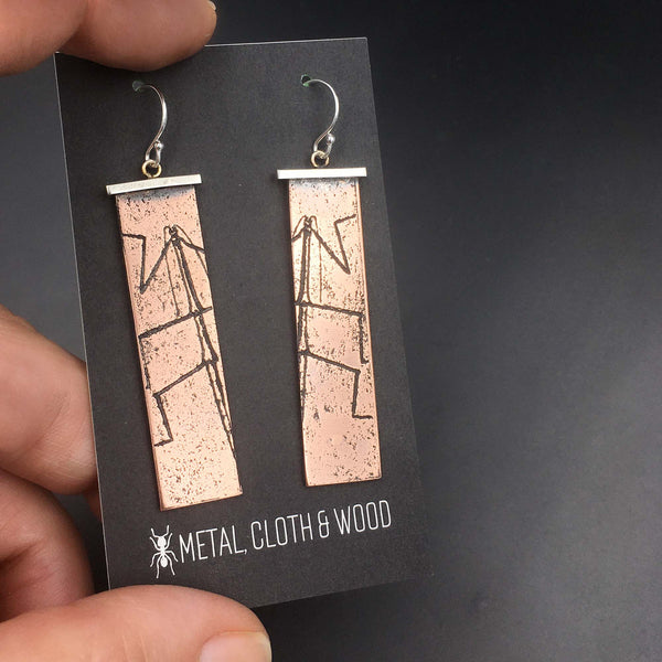 Handmade Walking Stick Insect Earrings in Sterling Silver & Copper