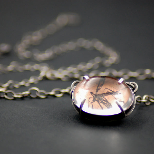 Handmade Mosquito Insect Necklace in Sterling Silver & Copper