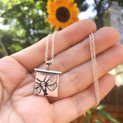 Handmade Hummingbird Moth Insect Necklace in Sterling Silver & Copper