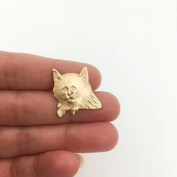 Brass Nervous Cat Pin or Brooch