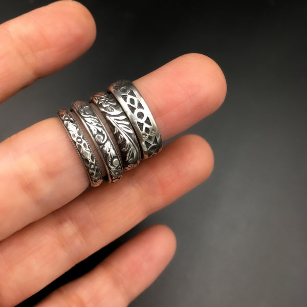 Handmade 4mm Sterling Silver Victorian Botanical Patterned Ring Band