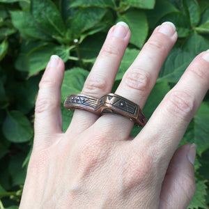 Heavy Primitive Coppery Red Brass Double Knuckle Duster Statement Ring