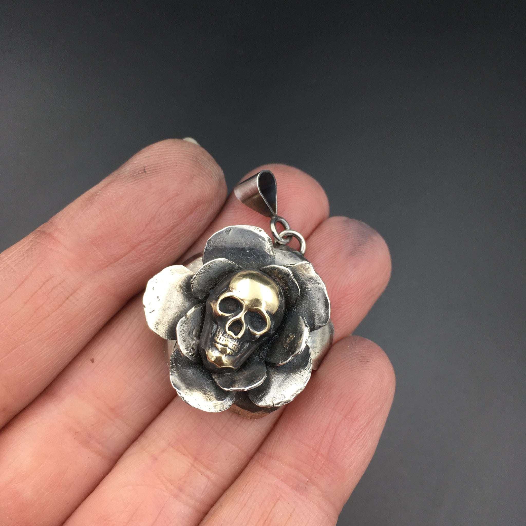 Handcrafted Sterling Silver Rose Pendant with Brass Skull