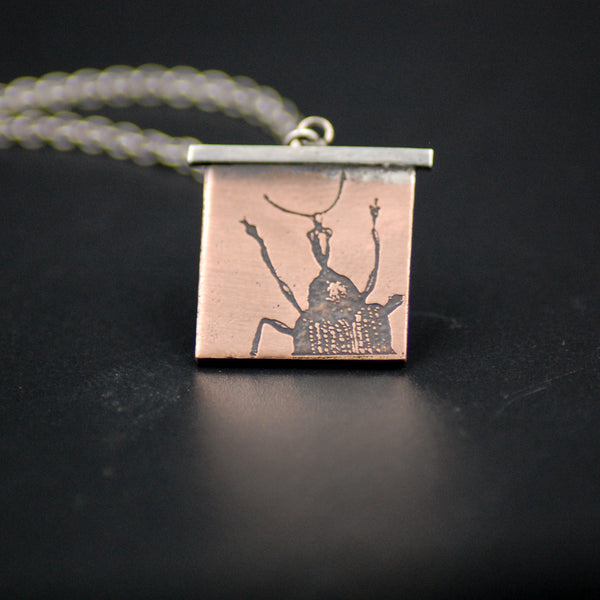 Handmade Snoutless Weevil Insect Necklace in Sterling Silver and Copper