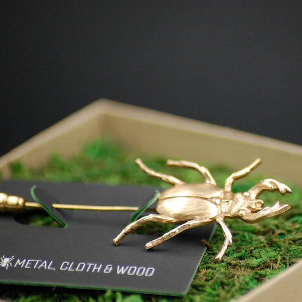 Gold Stag Beetle Insect Stick Pin -- Perfect Gift for Groom or Groomsmen