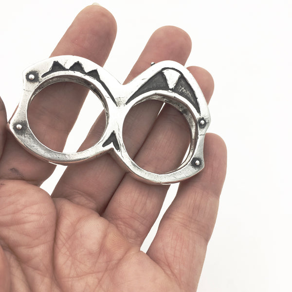 Heavy Primitive Sterling Silver Double Knuckle Duster Statement Ring