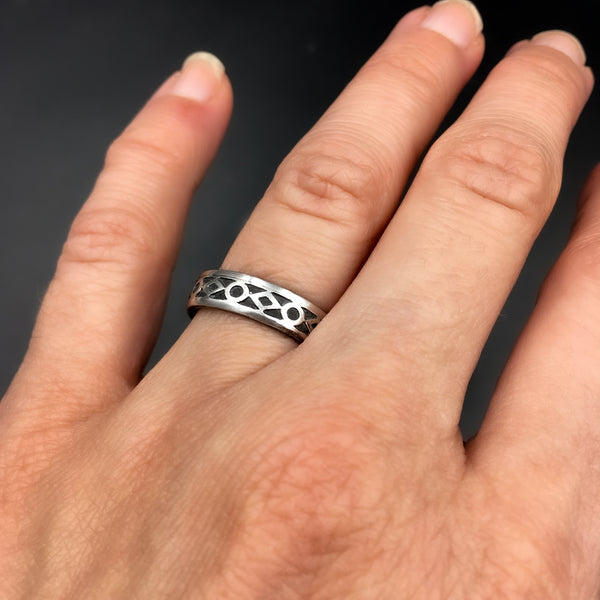 Handmade 5mm Sterling Silver Gothic Patterned Ring Band
