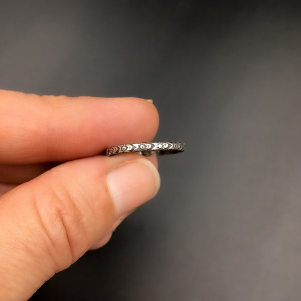 Handmade 1.5mm Skinny Sterling Silver Victorian Abstract Botanical Patterned Ring Band