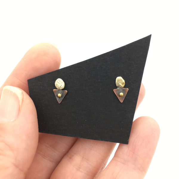 Sterling Silver, Brass and Copper Triangle Minimalist Stud Earrings