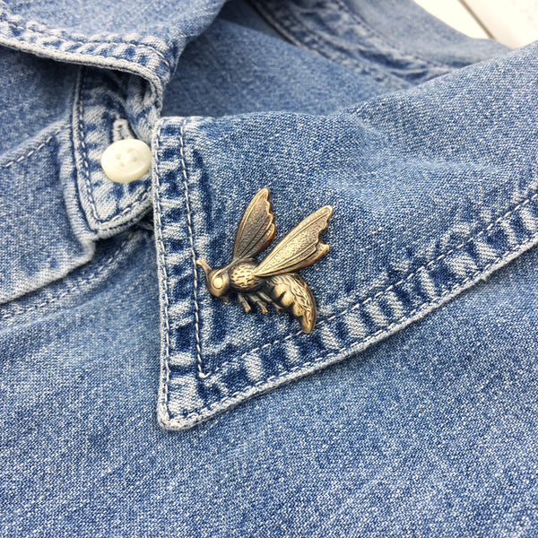 Brass Wasp Insect Pin or Brooch -- Available in Bright Gold or Antiqued Gold Finish!