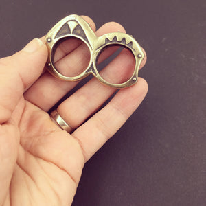 Heavy Primitive Yellow Brass Double Knuckle Duster Statement Ring
