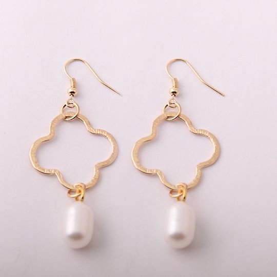 Freshwater Pearl Clover Earrings