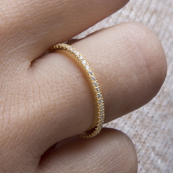 925 Sterling Silver Thin Line Micro Pavé CZ Eternity Rings