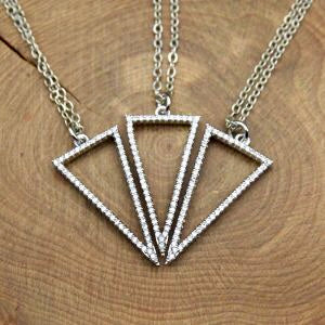 Micro Pavé Cubic Zirconia Triangle Pendant Necklace