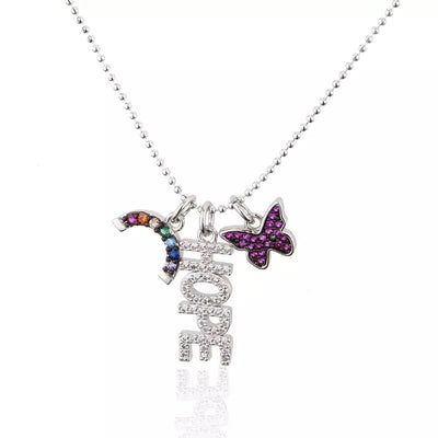HOPE Butterfly & Rainbow Charm Necklace