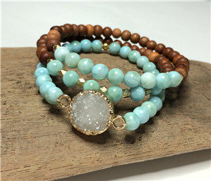 Druzy Agate with Larimar & Sandalwood Beads Bracelets Set