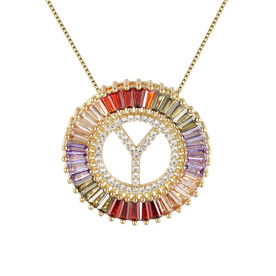Gold Micro Pave Rainbow Cubic Zirconia Letter Necklace