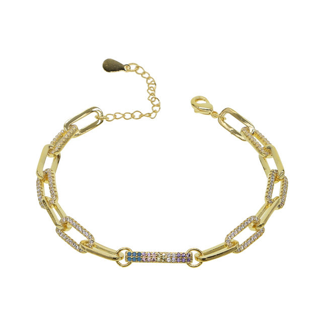 Gold Square Link Cubic Zirconia Choker and Bracelet
