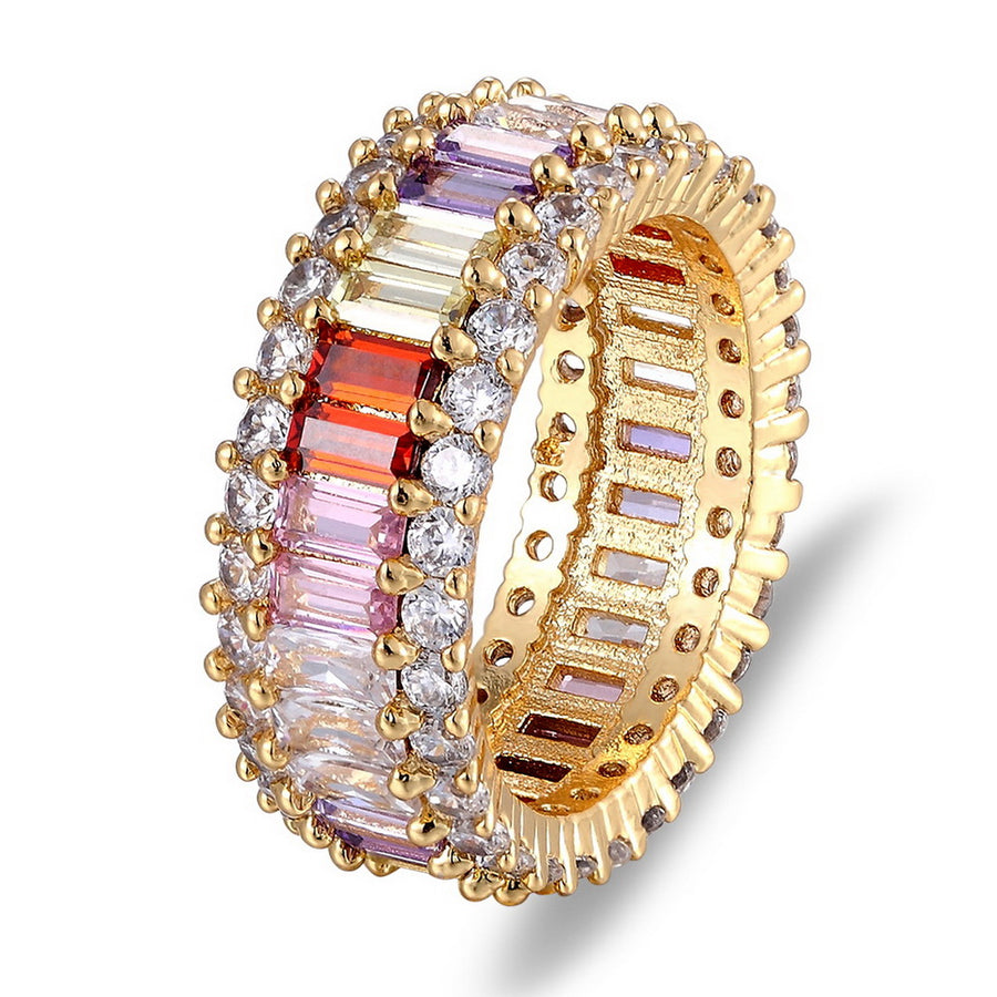Rainbow Cubic Zirconia Gold Ring