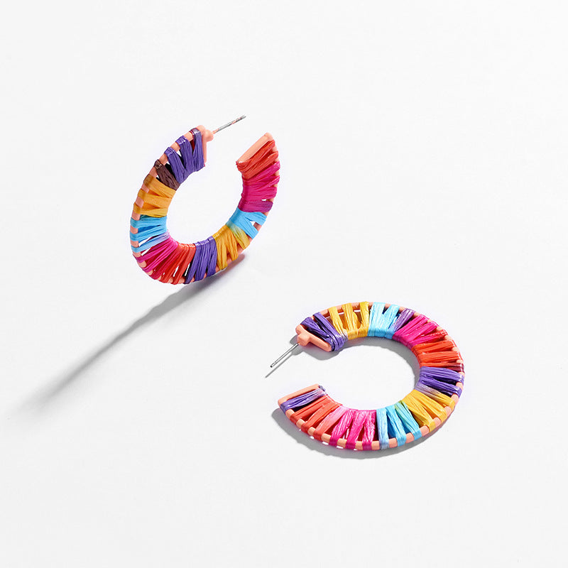 Trendy Colored Rattan Woven Hoop Earrings